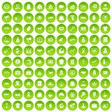 100 ícones da caridade ajustados verdes ilustração royalty free