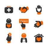 Ícones da caridade e da doação Fotografia de Stock Royalty Free