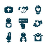 Ícones da caridade e da doação ajustados Fotografia de Stock