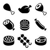 Ícones da carne ajustados Imagens de Stock