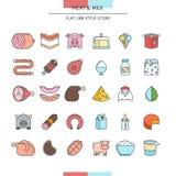 Ícones da carne e do leite Imagens de Stock Royalty Free