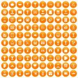 100 ícones da carreira do negócio ajustados alaranjados ilustração do vetor