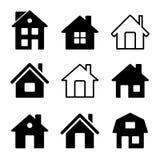 Ícones da casa ajustados no branco ilustração stock