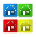 Ícones da casa em quadrados Foto de Stock Royalty Free