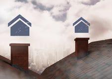 Ícones da casa sobre chaminés do telhado Foto de Stock Royalty Free