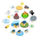 Ícones da catástrofe da catástrofe natural ajustados ilustração royalty free
