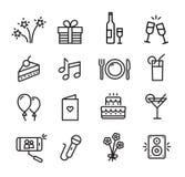 Ícones da celebração ajustados ilustração stock