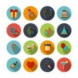 Ícones da celebração ajustados Fotografia de Stock Royalty Free