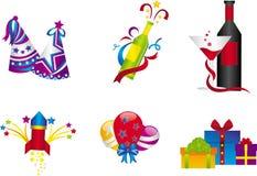 Ícones da celebração do ano novo Fotos de Stock