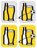 Ícones da cerveja e do futebol ilustração royalty free