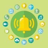 Ícones da chamada das notificações ajustados com sino e Foto de Stock Royalty Free