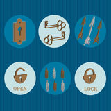 Ícones da chave e do fechamento Fotos de Stock Royalty Free