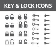 Ícones da chave e do fechamento Fotos de Stock