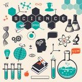Ícones da ciência ajustados Vetor Imagens de Stock