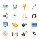 Ícones da ciência, da pesquisa e da instrução Fotografia de Stock