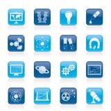 Ícones da ciência, da pesquisa e da instrução Imagem de Stock Royalty Free