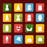 Ícones da coleção da roupa de forma das mulheres Fotografia de Stock