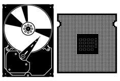 Ícones da coleção do vetor. Ícones da ferragem de computador. ilustração stock
