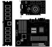 Ícones da coleção do vetor. Ícones da ferragem de computador. ilustração do vetor
