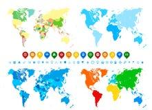 Ícones da coleção e da navegação de mapas do mundo nas cores diferentes a ilustração stock