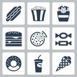 Ícones da comida lixo do vetor ajustados Imagem de Stock Royalty Free