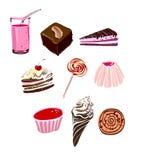 Ícones da comida lixo e da sobremesa Imagens de Stock Royalty Free