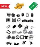 Ícones da compra ajustados Imagens de Stock