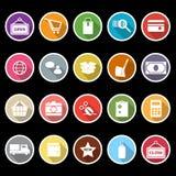 Ícones da compra com sombra longa Fotografia de Stock Royalty Free