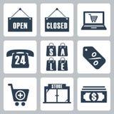 Ícones da compra do vetor ajustados Fotos de Stock Royalty Free