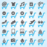 Ícones da compra e do comércio electrónico ajustados Foto de Stock Royalty Free