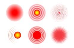 Ícones da concentração da dor Círculos vermelhos e transparentes que mostram o epicentro da dor Dor nos músculos, pés, cabeça, co ilustração do vetor