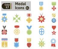 Ícones da concessão e da medalha Imagem de Stock Royalty Free