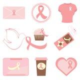 Ícones da consciência do cancro da mama ilustração stock