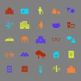 Ícones da cor da comunidade da aposentadoria ilustração stock