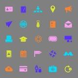 Ícones da cor da conexão do contato no fundo cinzento Fotografia de Stock Royalty Free