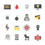 Ícones da cor da segurança do crime do Cyber dos desenhos animados ajustados Vetor ilustração stock