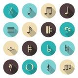 Ícones da cor das notas da música ajustados Fotografia de Stock Royalty Free
