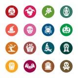 Ícones da cor de Dia das Bruxas Fotografia de Stock Royalty Free