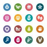Ícones da cor do elemento do Natal Imagens de Stock