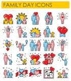 Ícones da cor do esboço do dia das famílias no fundo branco para o gráfico e o design web, sinal simples moderno do vetor Conceit ilustração stock