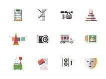 Ícones da cor do plano de serviços do evento ajustados Fotografia de Stock