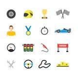 Ícones da cor do símbolo das corridas de carros dos desenhos animados ajustados Vetor ilustração royalty free