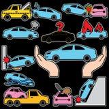 Ícones da cor do seguro do acidente de viação e de carro Fotografia de Stock Royalty Free