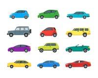 Ícones da cor dos carros dos desenhos animados ajustados Vetor Imagem de Stock