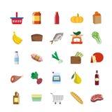 Ícones da cor dos gêneros alimentícios ilustração stock