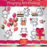 Ícones da cor dos gatos: feliz aniversario Fotografia de Stock