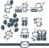Ícones da cor dos gatos: feliz aniversario Fotografia de Stock Royalty Free