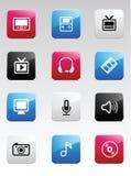 Ícones da cor dos multimédios Imagens de Stock Royalty Free