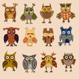 Ícones da coruja ilustração stock