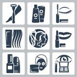 Ícones da cosmetologia do vetor ajustados Foto de Stock Royalty Free